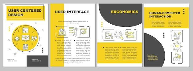 Szablon broszury projektowej zorientowanej na użytkownika. interakcja człowiek-komputer. ulotka, broszura, druk ulotek, projekt okładki z liniowymi ikonami. układy wektorowe do prezentacji, raportów rocznych, stron ogłoszeniowych