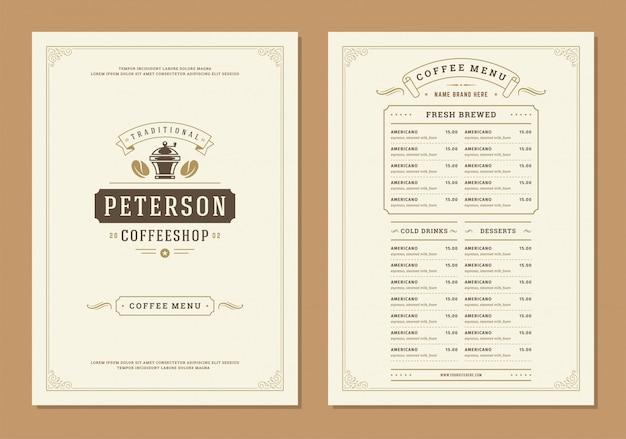 Szablon broszury projektu menu kawy.