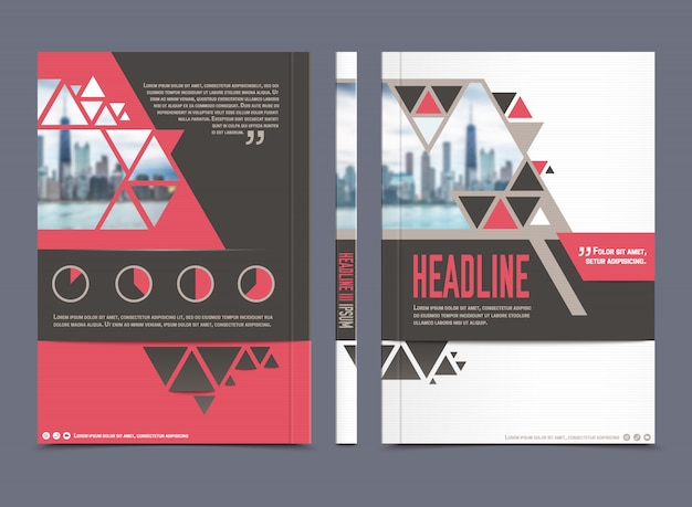 Szablon broszury raportu rocznego i uniwersalny układ firmy papierniczej