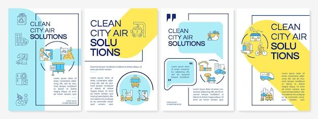Szablon broszury rozwiązań czystego powietrza miasta. czysty transport publiczny. ulotka, broszura, druk ulotek, projekt okładki z liniowymi ikonami. układy wektorowe do prezentacji, raportów rocznych, stron ogłoszeniowych