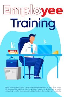 Szablon broszury szkoleniowej dla pracowników. ulotka z kursami edukacyjnymi, broszura, koncepcja ulotki z płaskimi ilustracjami. układ strony kreskówki dla magazynu. reklama szkoły biznesu z miejscem na tekst