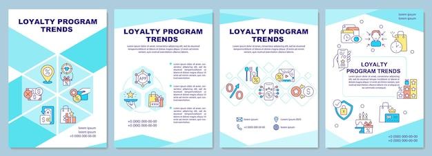 Szablon broszury trendów programu lojalnościowego. tendencje systemowe nagradzania. ulotka, broszura, druk ulotek, projekt okładki z liniowymi ikonami. układy wektorowe do prezentacji, raportów rocznych, stron ogłoszeniowych