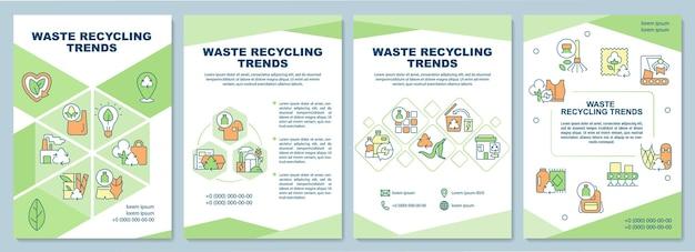 Szablon broszury trendów recyklingu odpadów. problem gospodarki odpadami. ulotka, broszura, druk ulotek, projekt okładki z liniowymi ikonami. układy wektorowe do prezentacji, raportów rocznych, stron ogłoszeniowych