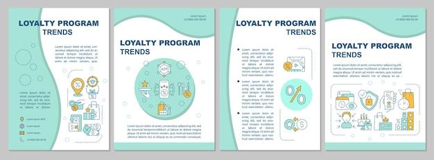 Szablon broszury trendów systemu lojalnościowego. tendencje systemowe nagradzania. ulotka, broszura, druk ulotek, projekt okładki z liniowymi ikonami. układy wektorowe do prezentacji, raportów rocznych, stron ogłoszeniowych