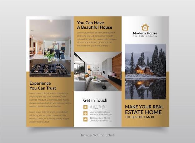 Szablon broszury trójdzielnej budynku nieruchomości