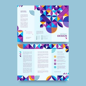 Szablon broszury trójdzielnej płaskiej mozaiki