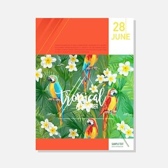 Szablon broszury. tropikalne kwiaty i papugi lato