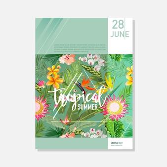 Szablon broszury. tropikalne palmy lato