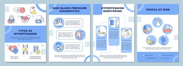 Szablon broszury typów nadciśnienia. diagnoza wysokiego ciśnienia krwi. ulotka, broszura, druk ulotek, projekt okładki z liniowymi ikonami. układy wektorowe do prezentacji, raportów rocznych, stron ogłoszeniowych