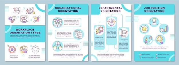 Szablon broszury typów orientacji w miejscu pracy. posada. ulotka, broszura, druk ulotek, projekt okładki z liniowymi ikonami. układy magazynów, raportów rocznych, plakatów reklamowych