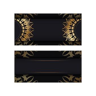 Szablon broszury w kolorze czarnym ze złotym luksusowym ornamentem