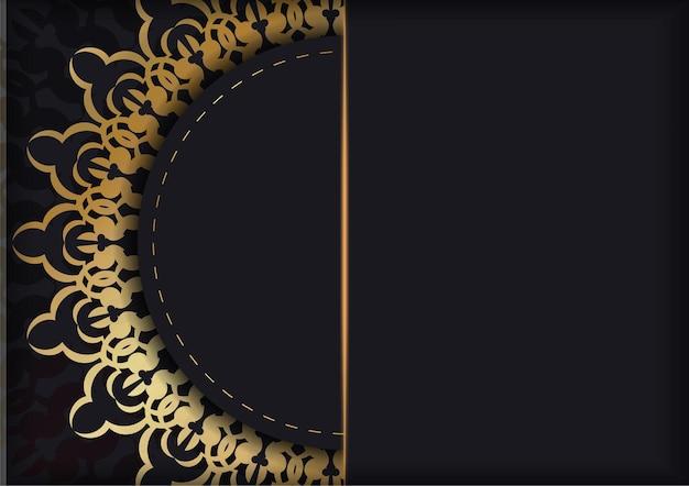 Szablon broszury w kolorze czarnym ze złotym ornamentem vintage