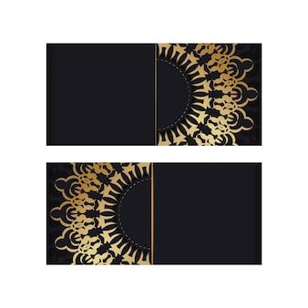 Szablon broszury w kolorze czarnym ze złotym wzorem vintage