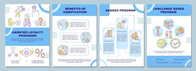 Szablon broszury z gamifikowanymi programami lojalnościowymi. ulotka, broszura, druk ulotek, projekt okładki z liniowymi ikonami. układy wektorowe do prezentacji, raportów rocznych, stron ogłoszeniowych