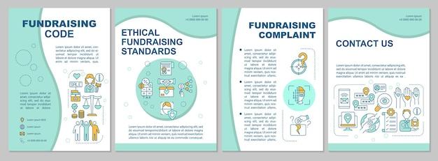 Szablon broszury z kodem pozyskiwania funduszy. skarga dotycząca pozyskiwania funduszy. ulotka, broszura, druk ulotek, projekt okładki z liniowymi ikonami. układy wektorowe do prezentacji, raportów rocznych, stron ogłoszeniowych