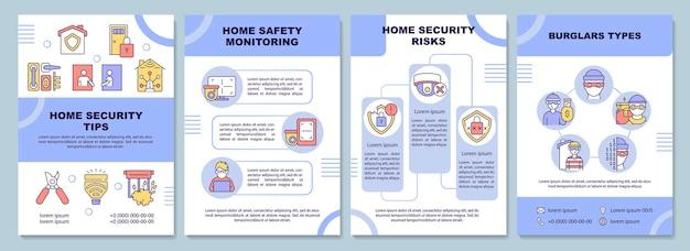 Szablon broszury z poradami dotyczącymi bezpieczeństwa w domu. system ochrony. ulotka, broszura, druk ulotek, projekt okładki z liniowymi ikonami. układy wektorowe do prezentacji, raportów rocznych, stron ogłoszeniowych