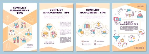 Szablon broszury z poradami dotyczącymi zarządzania konfliktami. relacje międzyludzkie. ulotka, broszura, druk ulotek, projekt okładki z liniowymi ikonami. układy wektorowe do prezentacji, raportów rocznych, stron ogłoszeniowych