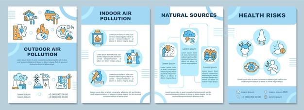 Szablon broszury zanieczyszczenia powietrza. zanieczyszczenie powietrza na zewnątrz. ulotka, broszura, druk ulotek