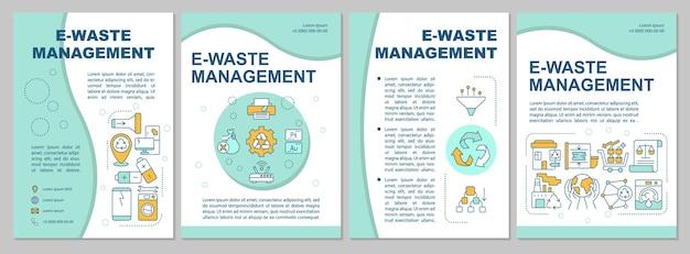 Szablon broszury zarządzania odpadami elektronicznymi. ochrona przyrody. ulotka, broszura, druk ulotek, projekt okładki z liniowymi ikonami.