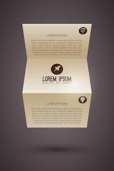 Szablon broszury ze złożonym tekstem papieru i ikonami biznesowymi