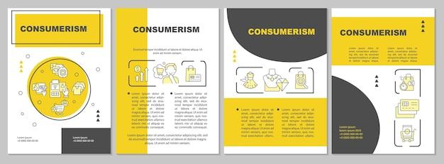 Szablon broszury żółty konsumpcjonizmu. nadmierne zakupy. ulotka, broszura, druk ulotek, projekt okładki z liniowymi ikonami. układy wektorowe do prezentacji, raportów rocznych, stron ogłoszeniowych