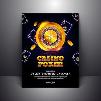 Szablon casino poker lub projekt ulotki ze złotym kołem ruletki