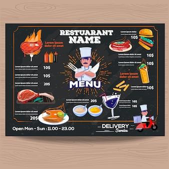 Szablon ceny menu restauracji steak house