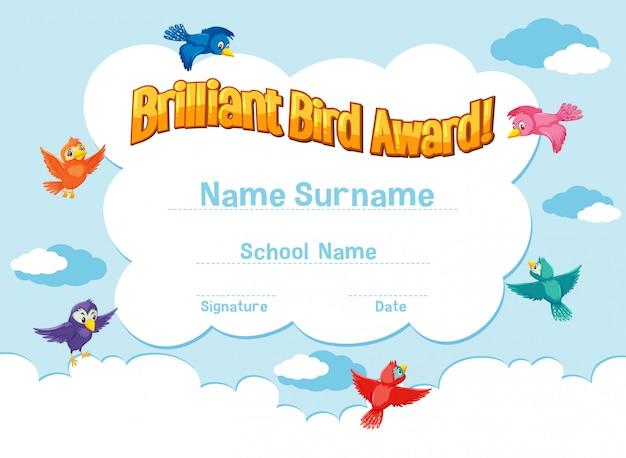 Szablon certyfikatu brillant bird award z ptakami latającymi na niebie
