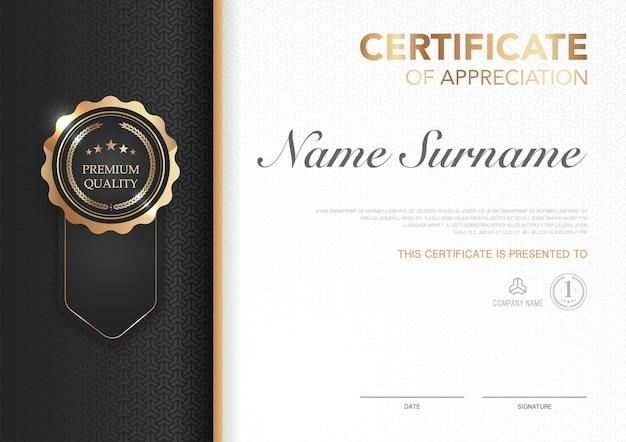 Szablon certyfikatu czarno-złoty z luksusowym obrazem w stylu dyplom nowoczesnego geometrycznego wzornictwa