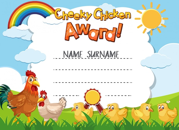 Szablon certyfikatu dla bezczelnej nagrody kurczaka z kurczakami w