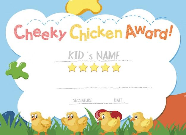 Szablon certyfikatu dla bezczelnej nagrody kurczaka z małymi pisklętami w tle