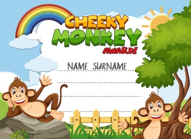 Szablon certyfikatu dla bezczelnej nagrody z małpami w tle