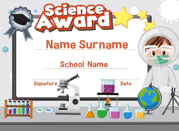 Szablon certyfikatu dla nagrody naukowej z dzieckiem w tle laboratorium