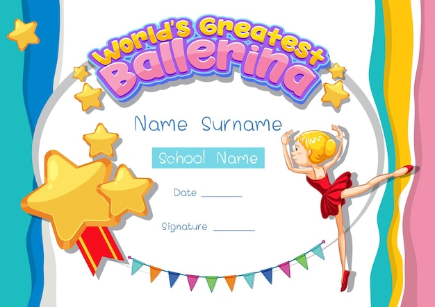 Szablon certyfikatu dla najlepszej baletnicy na świecie
