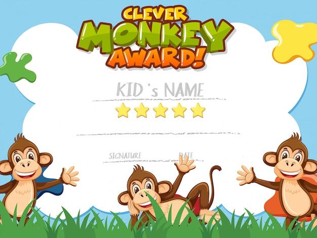 Szablon certyfikatu dla sprytnej nagrody małpy z małpami