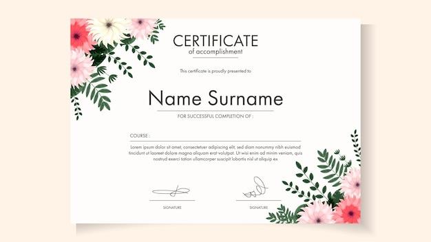 Szablon certyfikatu do druku, edytowalny kwiatowy z uroczymi kwitnącymi kwiatami