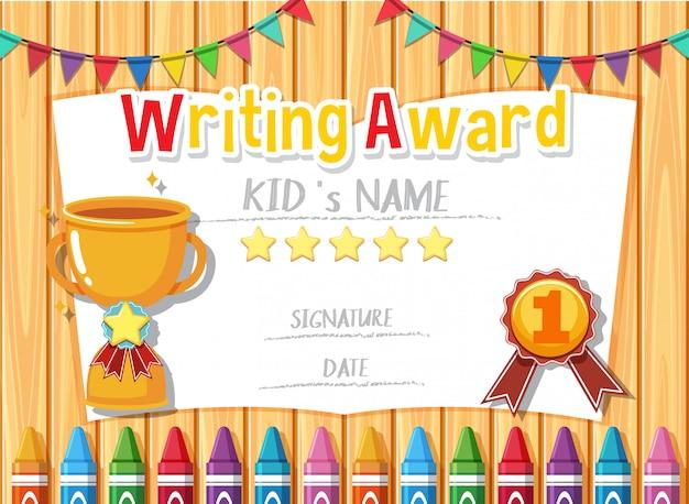 Szablon certyfikatu do pisania nagrody z trofeum w tle