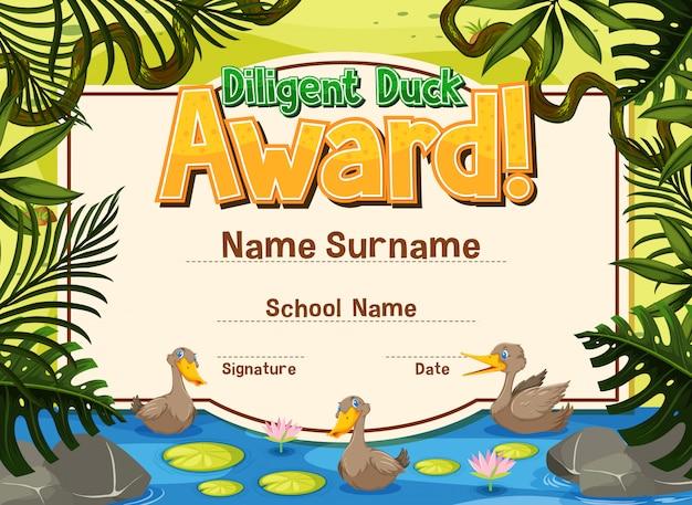 Szablon certyfikatu do starannej nagrody