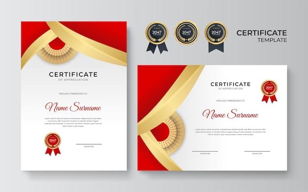 Szablon certyfikatu. dyplom nowoczesnego wzornictwa lub bon upominkowy. ilustracja wektorowa w kolorze czerwonym i złotym motywem