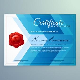 Szablon certyfikatu dyplom wykonany z abstrakcyjnych kształtów niebieski