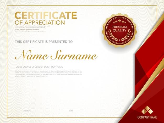 Szablon certyfikatu dyplomowego w kolorze czerwonym i złotym z luksusowym i nowoczesnym stylem wektorowym