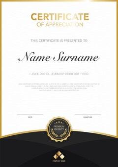 Szablon certyfikatu dyplomu czerwony i złoty kolor z luksusowym i nowoczesnym stylem grafika wektorowa.
