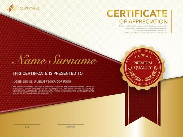 Szablon certyfikatu dyplomu w kolorze czerwonym i złotym z luksusowym i nowoczesnym stylem grafika wektorowa, odpowiednia do uznania. ilustracja wektorowa.