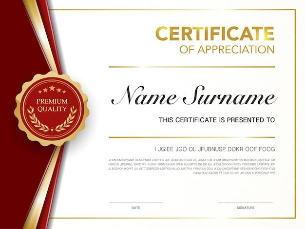 Szablon certyfikatu dyplomu w kolorze czerwonym i złotym z luksusowym i nowoczesnym stylem wektorowym