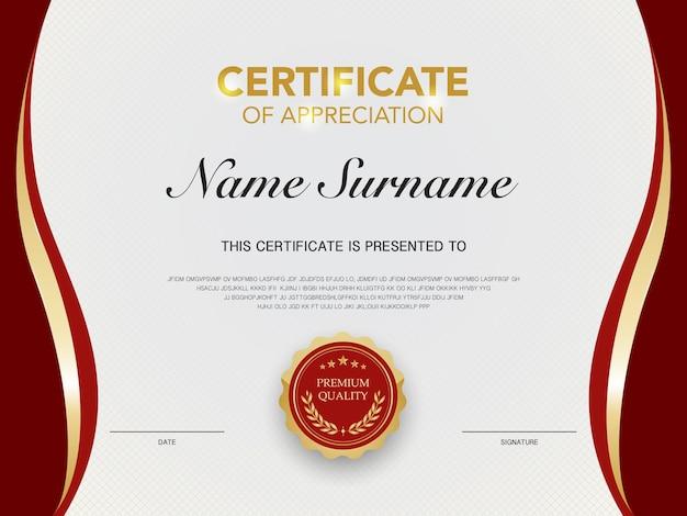 Szablon certyfikatu dyplomu w kolorze czerwonym i złotym z odpowiednim obrazem wektorowym w luksusowym i nowoczesnym stylu