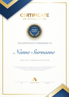 Szablon certyfikatu dyplomu w kolorze niebieskim i złotym z odpowiednim obrazem wektorowym w luksusowym i nowoczesnym stylu