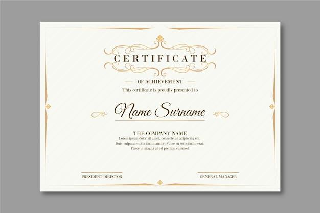 Szablon certyfikatu elegancki design