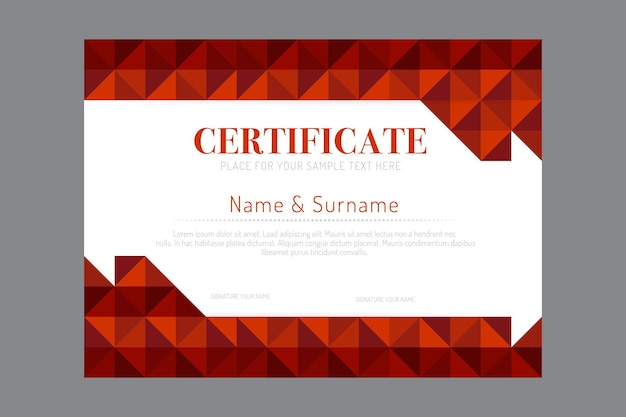 Szablon certyfikatu geometrycznej rama wektor.