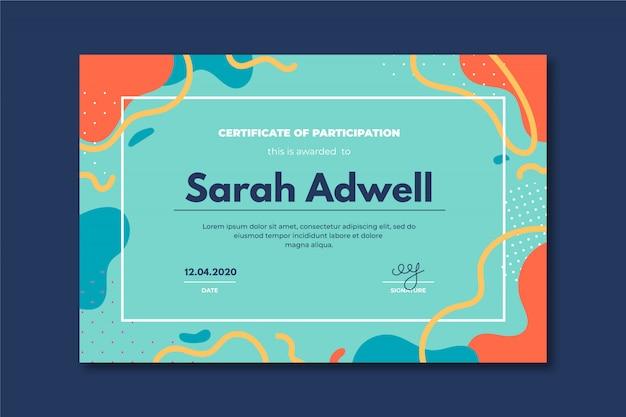 Szablon certyfikatu kreatywnego z abstrakcyjnymi kolorowymi kształtami.