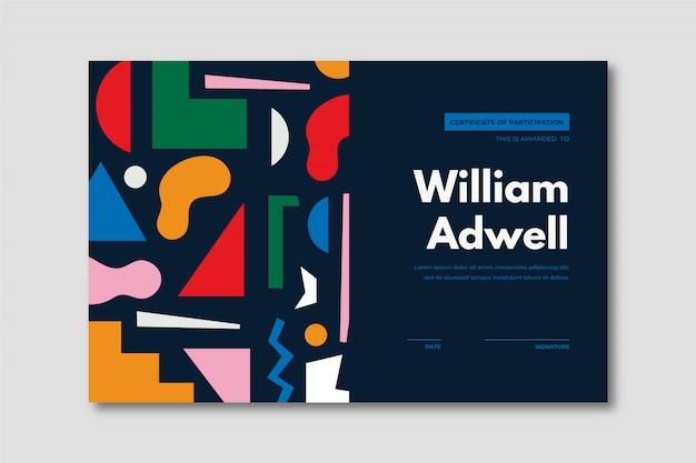 Szablon certyfikatu kreatywnego z kolorowymi kształtami geometrii.